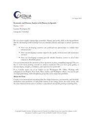 Economic and Finance Analyst with Fluency in Spanish ... - Castalia