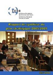 Synthèse du plan stratégique 05-09 - CEDR