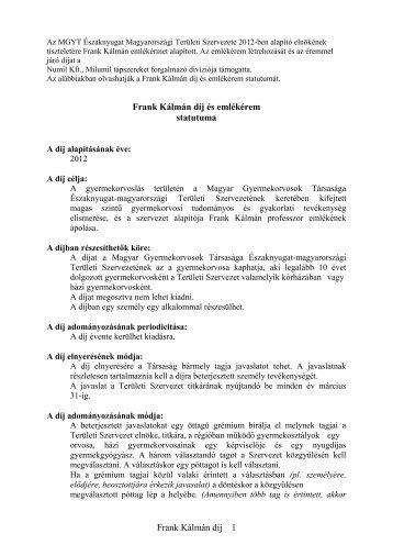 Frank Kálmán díj 1 Frank Kálmán díj és emlékérem statutuma