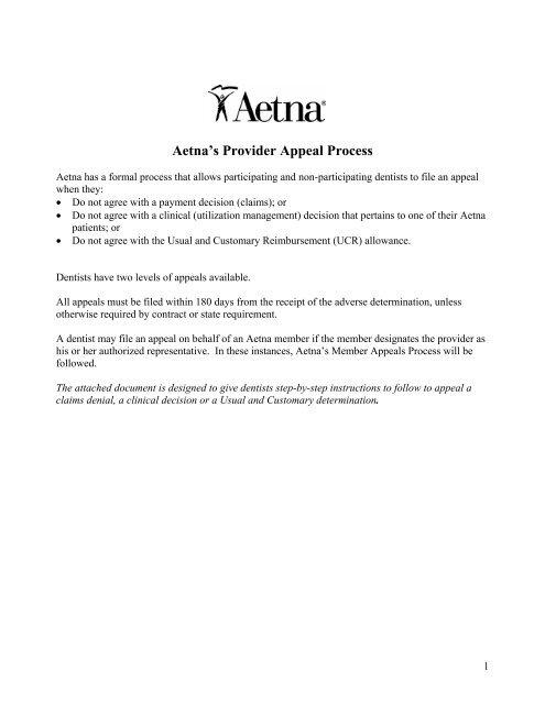 Aetna's Provider Appeal Process - Aetna Dental Public