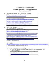 RESOURCES: WEBSITES Related to Military Family Law Issues