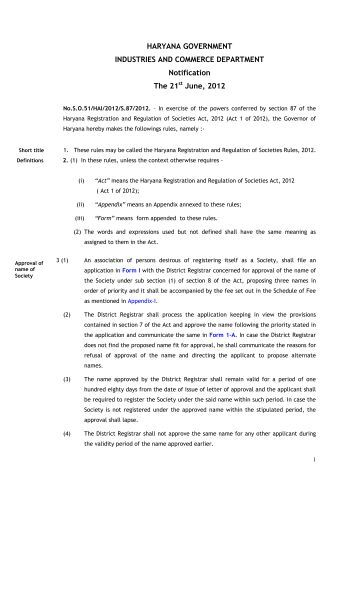 the Haryana Registration and Regulation of Societies Rules, 2012