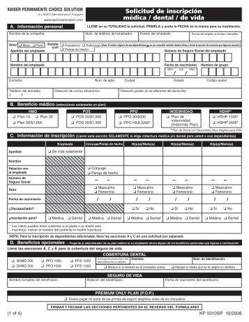 Kaiser Permanente Choice Solution—Solicitud de inscripción ...