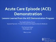 Acute Care Episode Demonstration (ACE) - Health Industry Forum