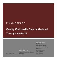 Quality Oral Health Care in Medicaid Through Health IT