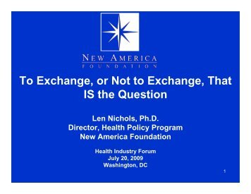 To Exchange, or Not to Exchange, That IS the Question - Health ...