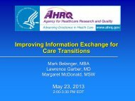 Care Transitions - AHRQ National Resource Center; Health ...