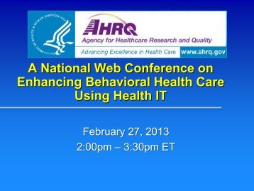 A National Web Conference on Enhancing Behavioral Health Care ...