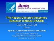 The Patient-Centered Outcomes Research Institute (PCORI) - Health ...