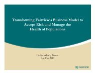 Transforming Fairview's Business Model to Accept Risk and Manage ...