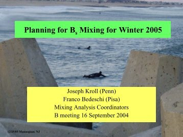 Planning for B Mixing for Winter 2005