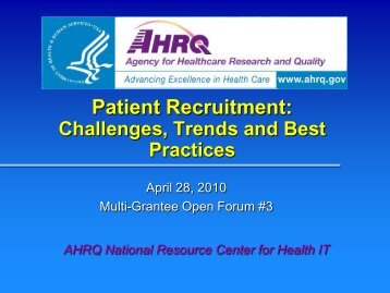 Patient Recruitment - AHRQ National Resource Center; Health ...