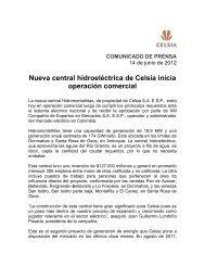 Nueva central hidroeléctrica de Celsia inicia operación comercial