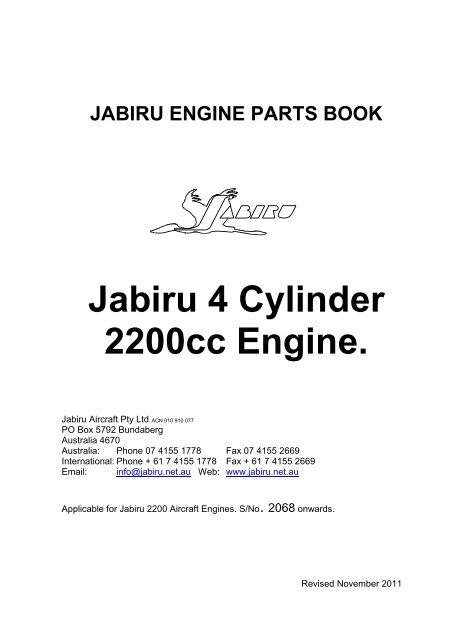 JABIRU ENGINE PARTS BOOK - Jabiru Aircraft