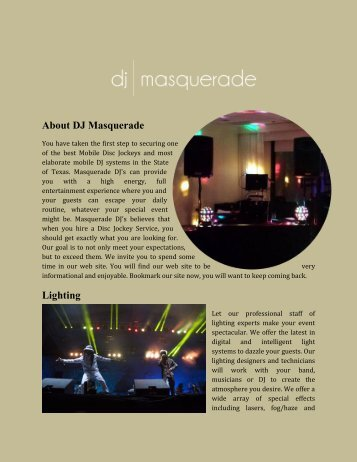 About DJ Masquerade Lighting