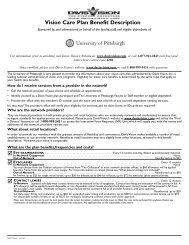 Summary Plan Description - University of Pittsburgh