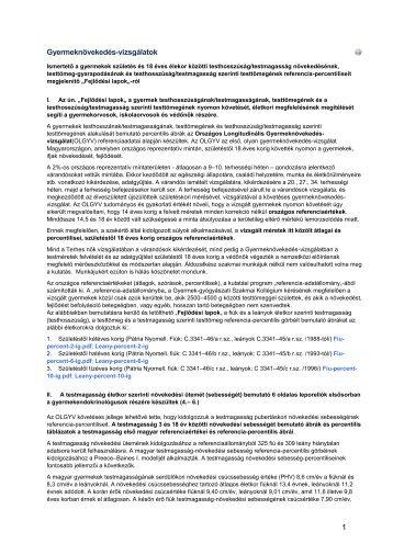 Gyermeknövekedés-vizsgálatok - Magyar Gyermekorvosok Társasága