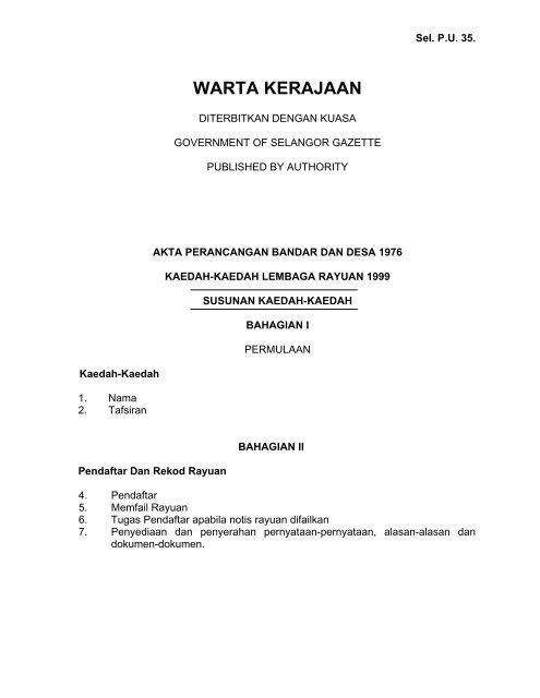 Warta Kerajaan Jpbd Selangor