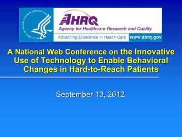 A National Web Conference on the Innovative Use of Technology to ...