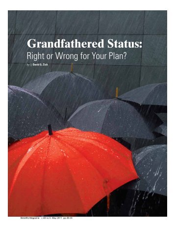 Grandfathered Status - International Foundation of Employee Benefit ...
