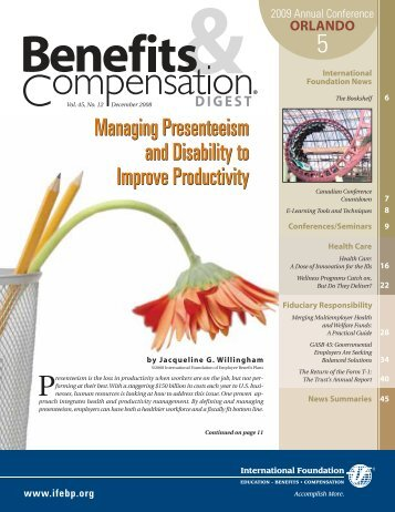 Managing Presenteeism and Disability to Improve Productivity ...