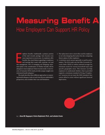 Measuring Benefit A - International Foundation of Employee Benefit ...