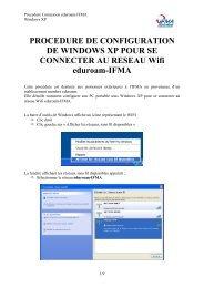 PROCEDURE DE CONFIGURATION DE WINDOWS XP ... - IFMA