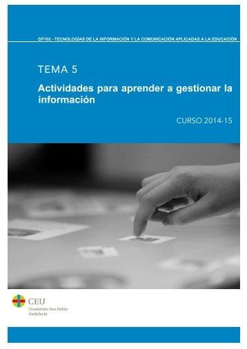 TEMA 5 Actividades para aprender a gestionar la información