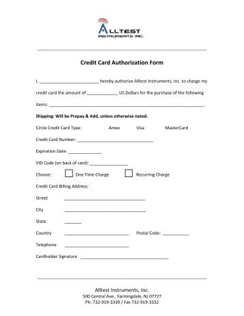 hotel credit card authorization form template