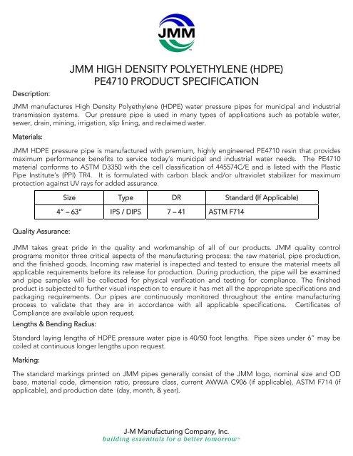 JMM HIGH DENSITY POLYETHYLENE (HDPE) PE4710     - JM Eagle