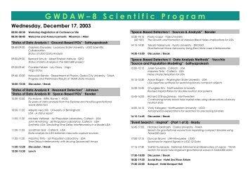 """""""GWDAW-8 Scientific Program"""" · PDF - UWM LSC - UW-Milwaukee"""