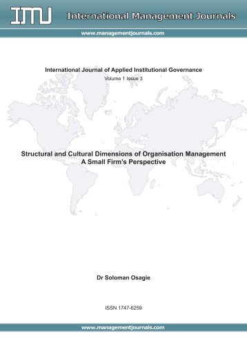 Structural and Cultural Dimensions of Organisation Management ...