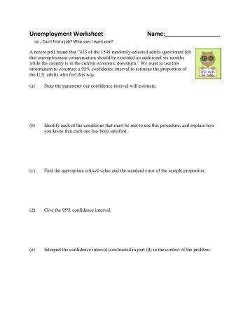 Worksheets Confidence Interval Worksheet confidence intervals worksheet name unemployment name