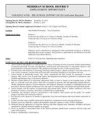 Pre-School Support, 2 Positions - Meridian School District