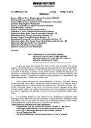 Compliance of ISPS Regulations - Introduction ... - Mumbai Port Trust