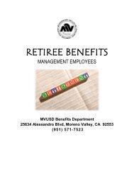 RETIREE BENEFITS - Moreno Valley Unified School District