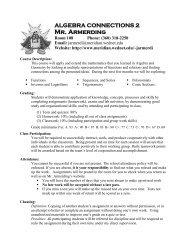 Algebra Connections 2 Syllabus - Meridian School District