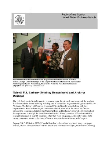 Nairobi U.S. Embassy Bombing Remembered and Archives Digitized