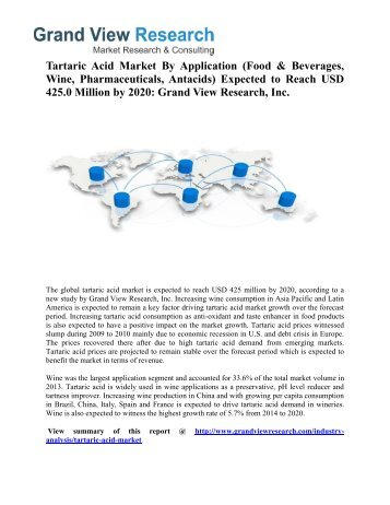 Tartaric Acid Market Trends 2014 To 2020 by Grand View Research, Inc.