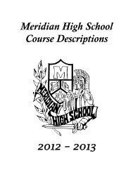 Meridian High School Course Descriptions 2012 – 2013
