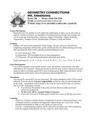 GEOMETRY CONNECTIONS Mr. Armerding - Meridian School District
