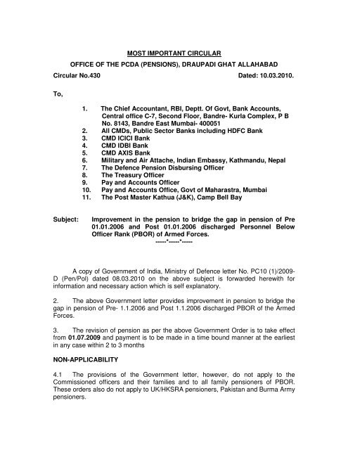 Most Important Circular 430 Controller Of Defence Accounts