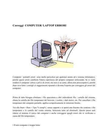 Correggi COMPUTER/ LAPTOP ERRORI