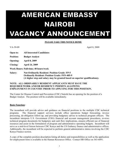 Budget Analyst Opening - Nairobi
