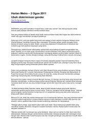 Harian Metro – 2 Ogos 2011 Ubah diskriminasi gender - IPPBM