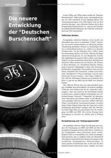 """Die neuere Entwicklung der """"Deutschen Burschenschaft"""" - Lotta"""