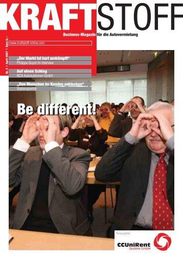 Be different! - Kraftstoff – Business-Magazin für die Autovermietung
