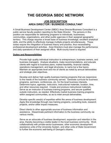 Detailed Job Description Georgia Small Business Development   Job  Description Of Business Consultant
