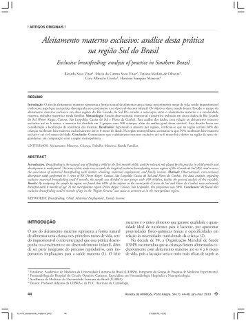 Aleitamento materno exclusivo: análise desta prática na região Sul ...