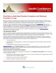 Final Rule on Individual Mandate Exemptions and Minimum ...